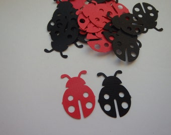 100 mix of red and black ladybug confetti