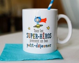 Mug of super heroes who take a good breakfast, kid mug, gift boy, super hero, breakfast, ceramic mug