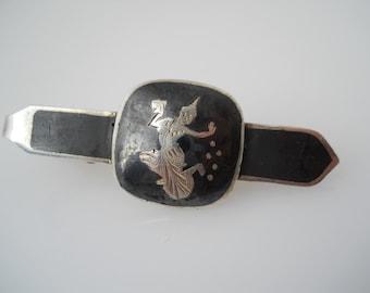 Siam Sterling Silver 925 Fairy Nang Fa Tie Clip Bar Nielloware Made In Siam