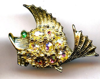 Fish Scatter Pins in Silvertone with Rhinestone Accents
