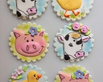 12 Vegan Farm Animal Edible Cupcake Toppers