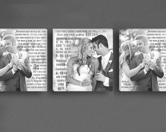 Triple Square Photo Vow Canvases