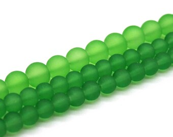Kelly Green Frosted Glass Bead Strands - Select Size: 6mm, 8mm