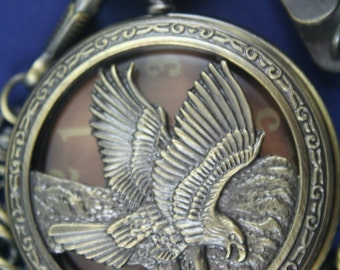 Free Shipping! Eagle Quartz Pocket Watch in a Cut Out Bronze Case  • Working and Ready for Use •  Free Shipping!