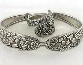Spoon Ring Bracelet Set Narcissus 1935 Vintage Silver Jewelry Silver Spoon Jewelry Silverware Flatware Handle Floral Braclet Daffodil Flower