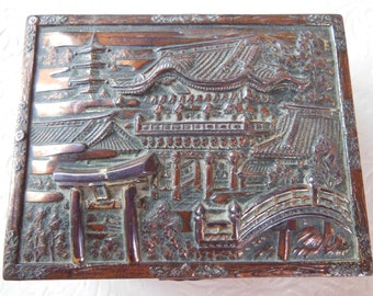Vintage Hinged, Wood Lined, Metal Box with Repousse Oriental Scene - Made in Japan