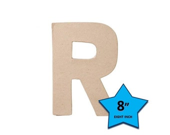 Paper Mache Cardboard Letters 8 Inch - Letter R - Paper Craft Party Decor Supplies