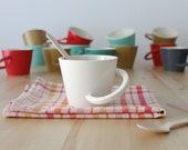 Ceramic white mug Cup with handle Bone white mug Wheel thrown pottery