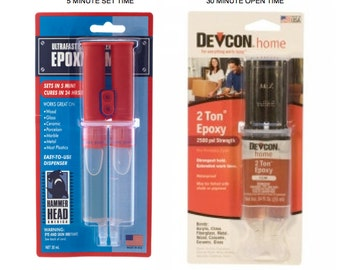 DEVCON EPOXY 5 minute or 30 minute - 2 Ton 2 Part EPOXY, metal / wood /glass / ceramics/ china /resin/ jewelry - Adhesive / glue