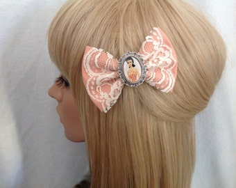 Vintage Barbie hair bow clip rockabilly psychobilly disney princess kawaii pin up fabric lace shabby chic doll ken retro ladies girls women