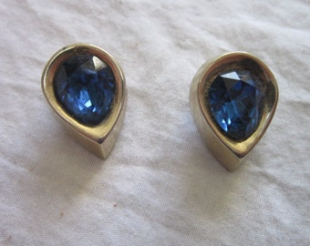 Vintage Signed Coro Faux Blue Sapphire & Silver Tone Clip on Earrings