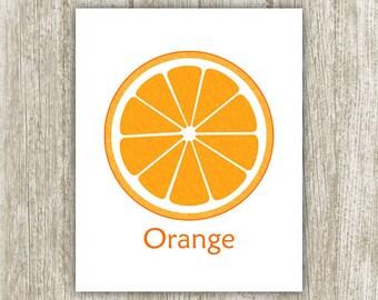 Orange Printable, 8x10, Instant Download, Digital Orange Slice Fruit Print, Citrus Kitchen Art Print, Kitchen Decor, Kitchen Printable