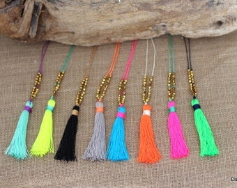 N643 - Adjustable Long Tassel Necklace - Multi-Colored Tassel  - Boho Jewelry - Claribella