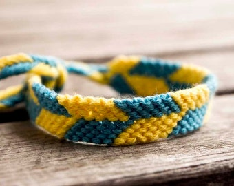 Ready to ship, Football fans bracelet, yellow and blue