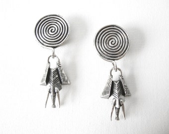 Vintage Sterling Silver Stylized Elephant Clip On Earrings Signed SC