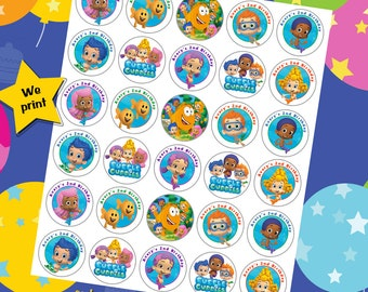 60 ct Bubble Guppies personalized stickers birthday party favor tags labels cupcake toppers decoration
