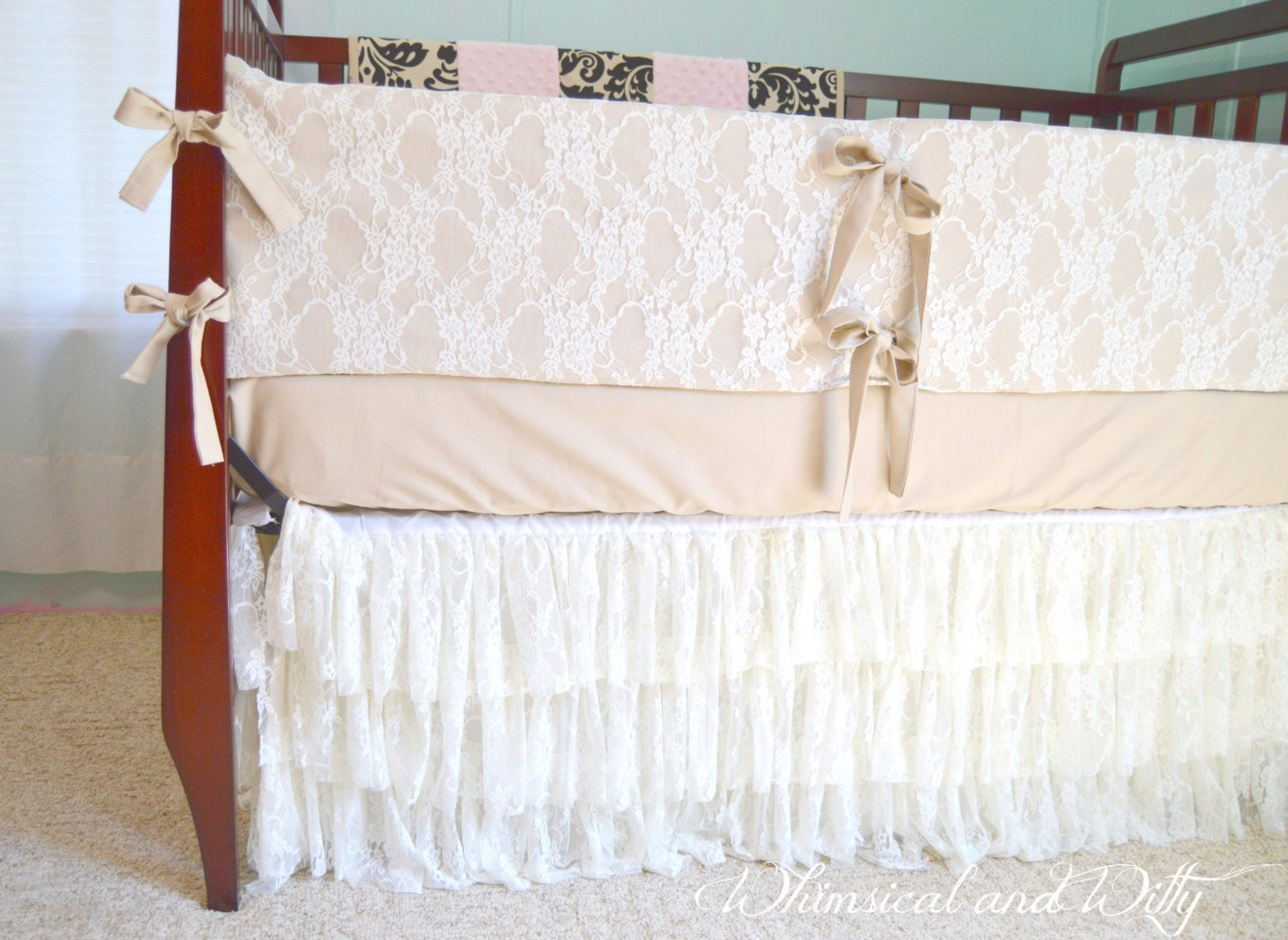 Lace baby crib bedding burlap colored cotton and ivory lace for Burlap and lace bedroom
