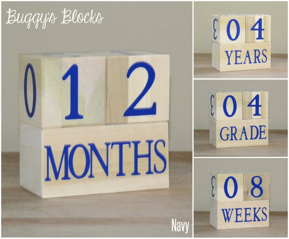 Baby Age Blocks - Navy