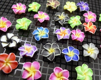 12~14mm 3D Resin Clay Hawaiian Flower Cabochons with Small Punctured Holes - set of 10