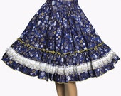Vintage 1970s Skirt Full Circle  New Look Cotton Retro Rockabilly Cup Cake Garden Party Swing Jive Mad Men Dress Square Dance