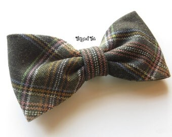 Olive Bow Tie, Green Bow Tie, Olive Coral Plaid Bow Tie, Green Plaid Bow Tie