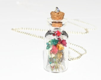 Real flower glass vial pendant, dried flower glass bottle necklace, terrarium necklace, real flower jewelry, boho chic, eco friendly
