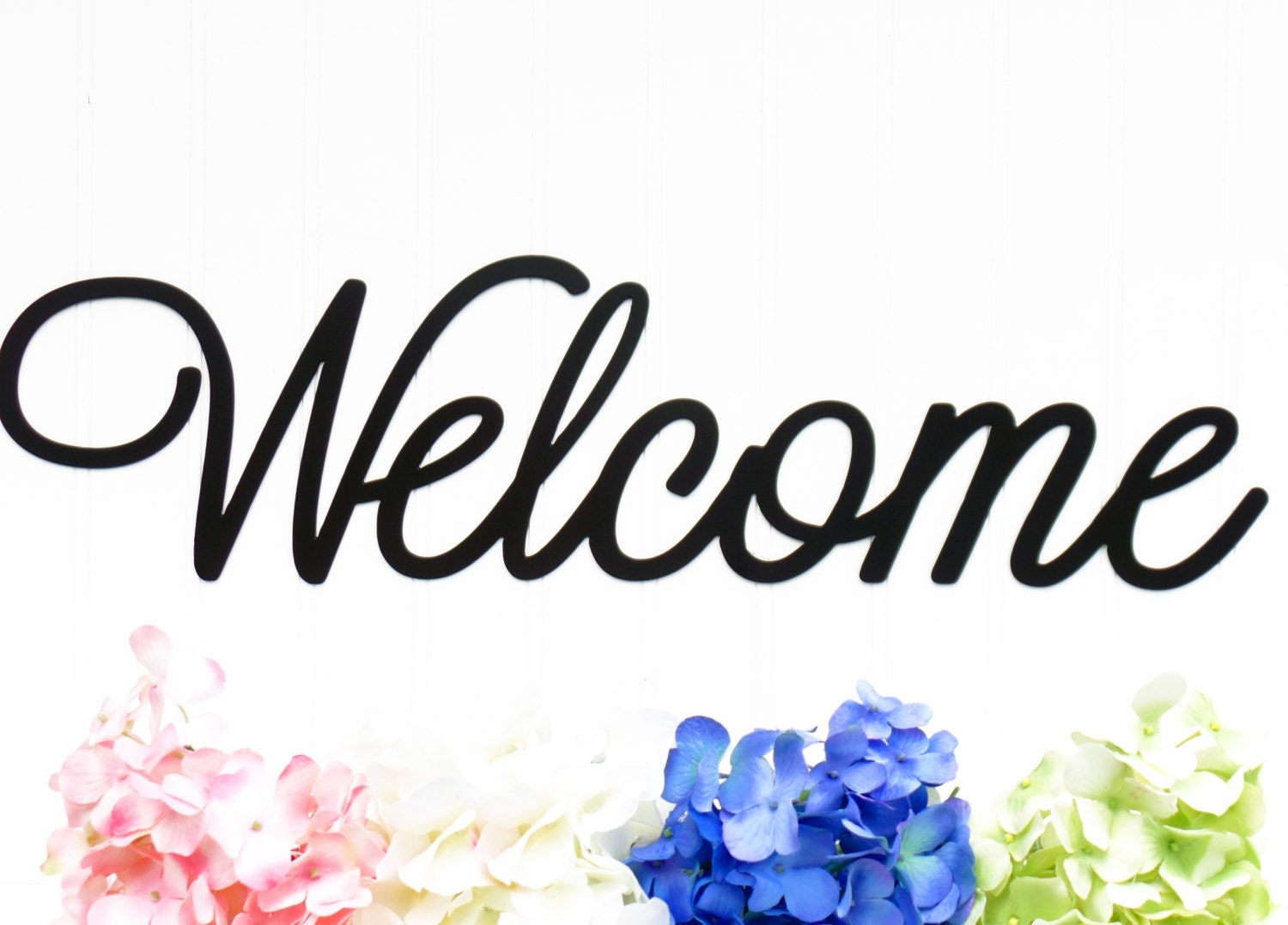 Welcome Metal Sign 22w x 5.5h Laser Cut by RefinedInspirations