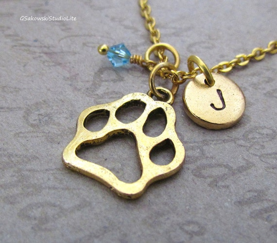 paw print charm necklace personalized by