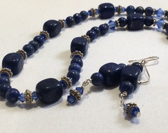 Lapis Lazuli,Swarovski Crystal,Sterling Silver Necklace and Earring Set
