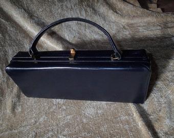 Vintage 1950s Jana Navy Blue leather box purse.