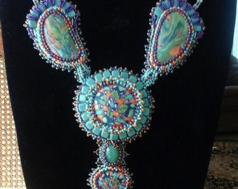 Focus on Fimo - Big Green Cab Necklace