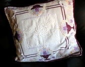 Vintage Pillow, Marsala,White,Pink Pillow,Embroidered Cushion,Applique Pillow.
