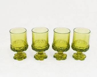 Juice or Wine Goblet * 1970s Tiffin Franciscan Madiera *Citron Green * Set of 4