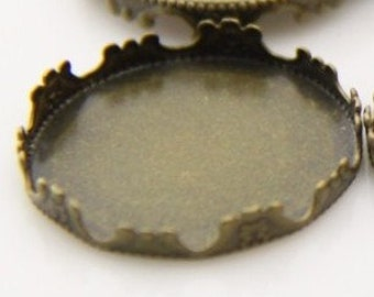12 pcs of crown edge setting for 25mm cameo-7535--antique bronze