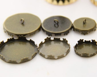 12 pcs of crown edge setting for 15  20 25mm cameo-7535-antique bronze