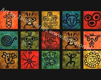 Taíno Symbols Editioned Print