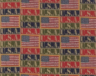 Because of the Brave, U.S.A. Flags,  by Moda Classics 32953 11