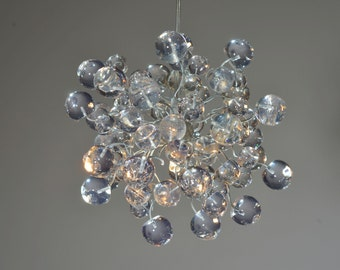 Ceiling Hanging Lamp with clear Transparent bubbles, Natural ceiling light for bathroom, hall or as a bedside lamp.