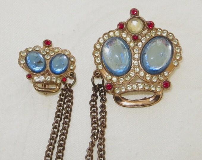 Vintage Crown Brooch, Crown Chatelaine Double Crown Pin, Heraldic Jewelry