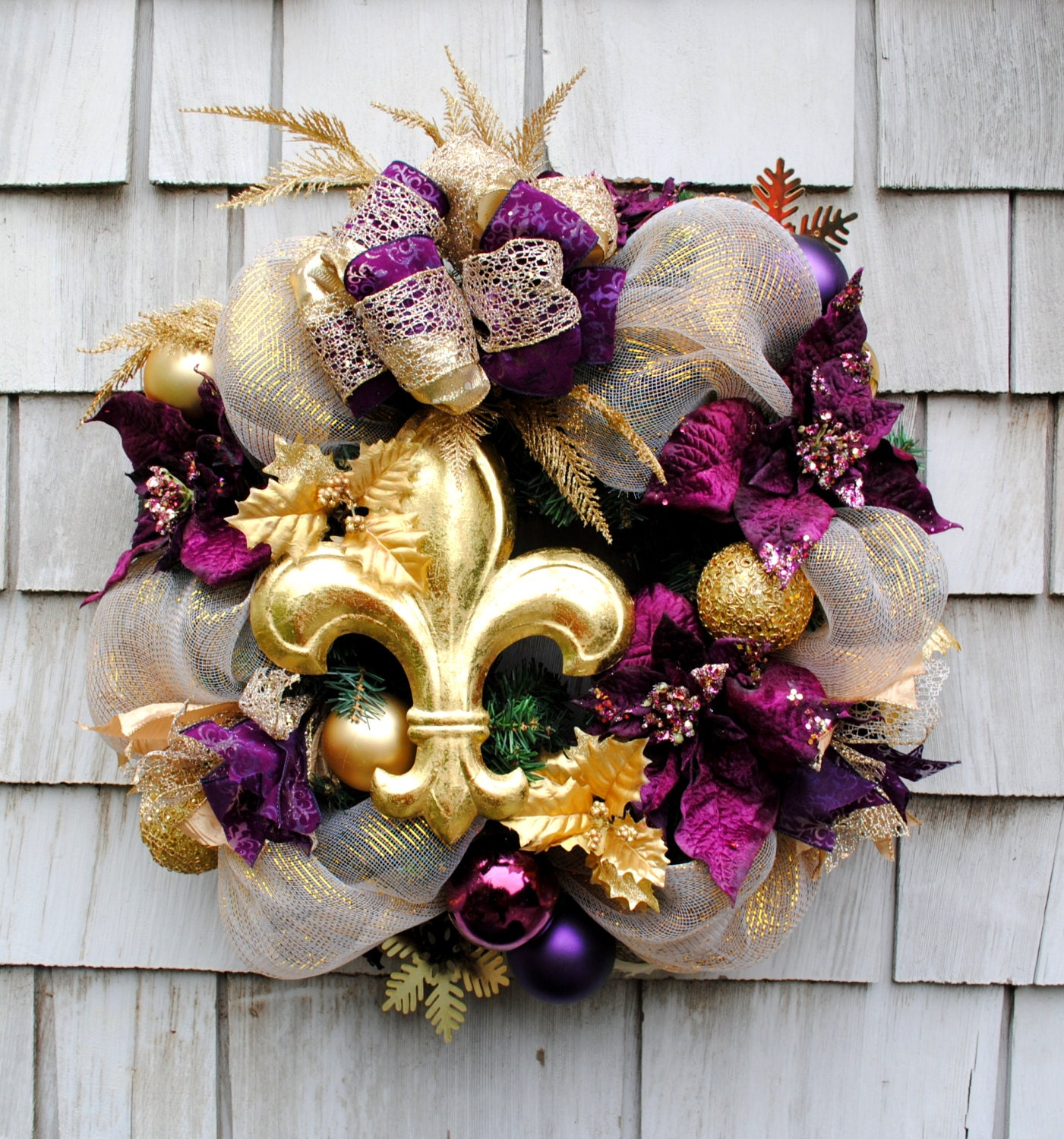 Christmas Wreath for the Door in an Elegant Gold and Purple with a XL Gold Fleur De Lis