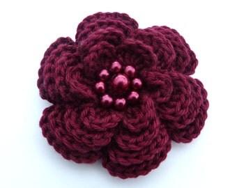 Large burgundy 4 layer  crochet flower brooch (3 ins diameter)