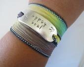 Gypsy Soul Hand Stamped Ribbon Wrap Bracelet