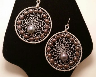Cultured Freshwater Pearls in Sterling Silver Plated Wire Web Earrings