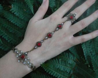 Swarovski slave bracelet Siam ruby RED hand chain hand flower slave ring bohemian Renaissance victorian moon goddess pagan boho gypsy style