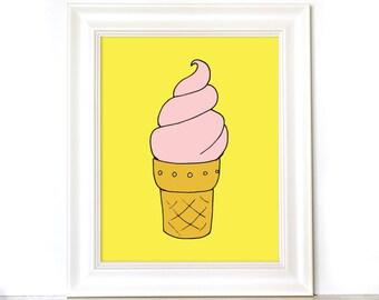 Ice Cream Cone Print - Nursery Print - Summer Print - Hand Drawn Print