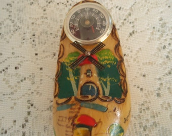 Dutch Wooden Shoe Wall Hanger, Colorfully Painted Windmill Scene on vintage wooden shoe from Amsterdam