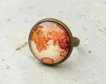 Map ring, Adjustable map ring, antique map ring,World map ring, vintage atlas ring, gift for the traveler, wanderlust ring