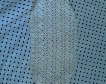 Hand Knit Cabled Lace Off-White Cap Sleeve Shrug Size XS-S