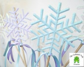 10 Piece Frozen Party Centerpiece with Ribbon,Frozen Party Decor,Winter Wonderland,Elsa Party,Snowflake Decor,Snowflakes,White,Lavender,Blue
