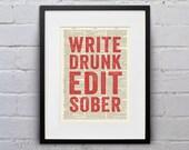 Write Drunk Edit Sober - Inspirational Quote Dictionary Print - DPQU113
